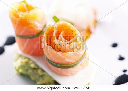 Salmon rolls as tapas