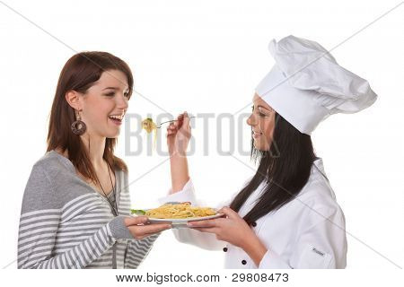 young chef tried her home-cooked pasta dish from