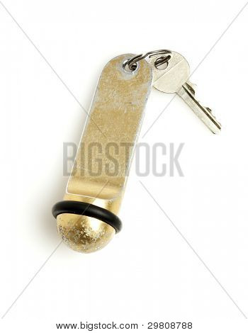 hotel room key isolated on white
