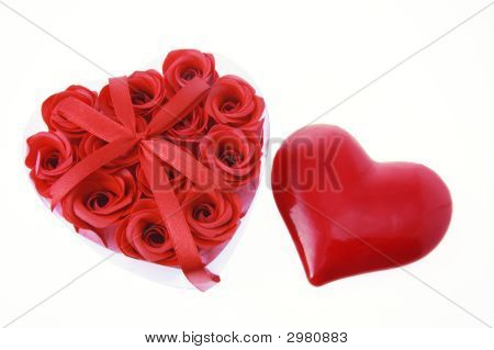 Red Roses And Love Heart