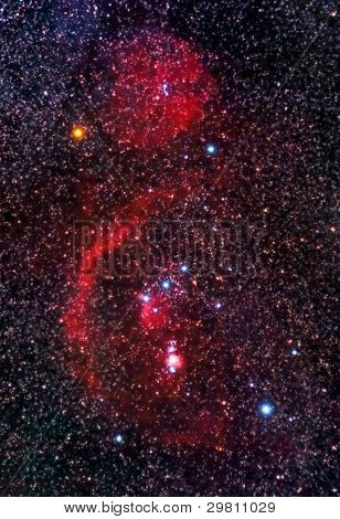 Orion Constellation And Faint Barnard's Loop Nebula