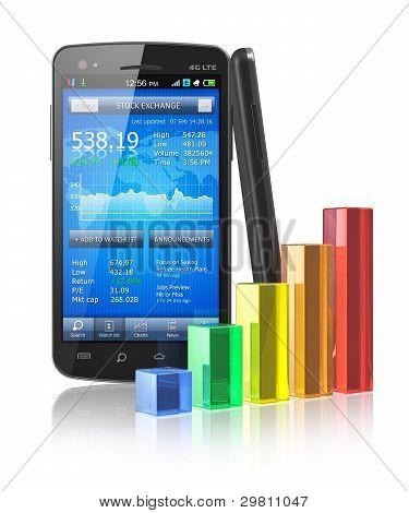 Smartphone com aplicação de bolsa e gráfico de barras