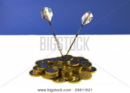 100 Dollar darts target on EURO coins, white-blue background