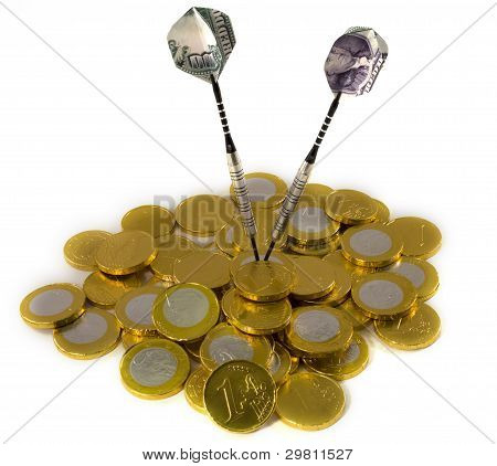 Dollar darts target on EURO coins, isolated on white