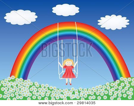 Girl In A Swing Hanging On Rainbow