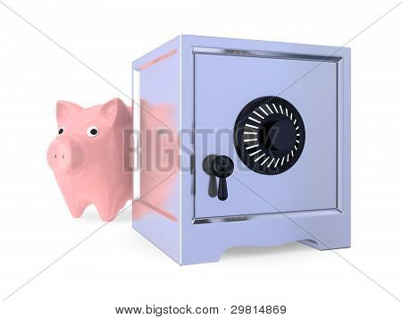 Pink piggy bamk and iron safe.