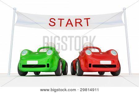 Dos coches en el principio del camino.