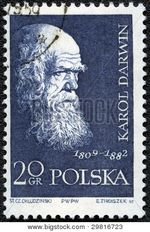 Poland - Circa 1959: A Stamp Printed In Poland Shows Charles Darwin (1809-1882), Circa 1959