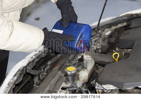 Adding radiator fluid on cold winter day