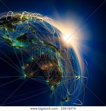 Main Air Routes In Australia And Oceania