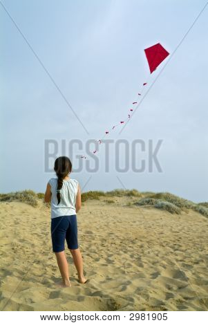 Girl And Red Kite