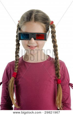 Little Girl With 3-d Glasses
