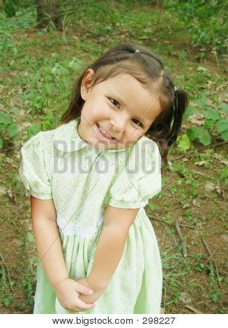 Little Native Girl In Green