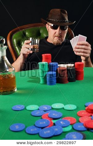Serious Poker Player Wearing Sunglasses