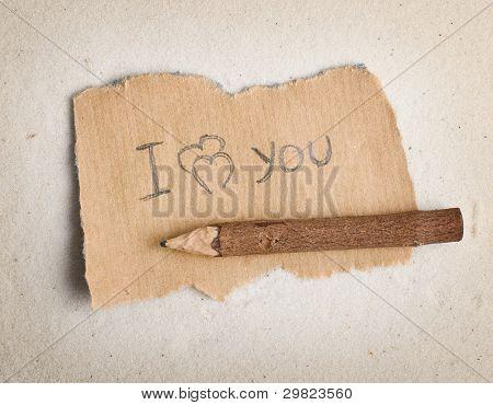 Declaração de amor na folha.