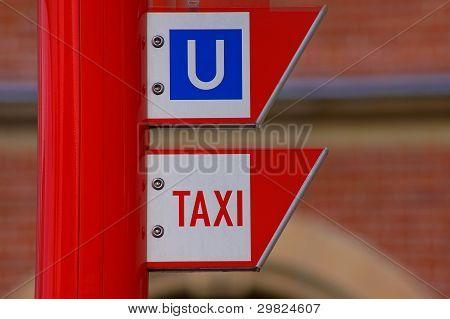 Subway an taxi sign