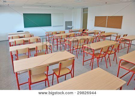 Empty classroom interior