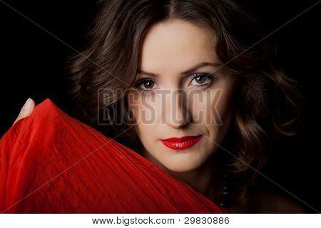 Closeup portrait of beautiful girl with makeup