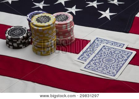US Flag with poker chips and cards