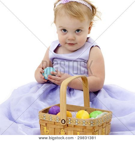 Pretty little girl with Easter basket