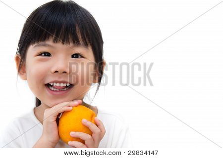 Cute Girl Hold Orange