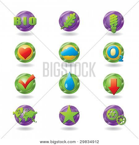 Set of stylized eco-friendly icons suitable for Web and printing design