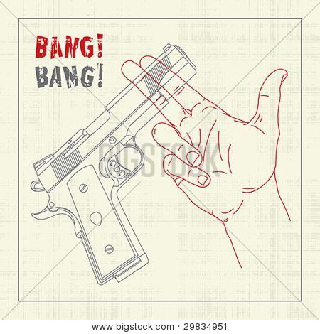 Handgun crossing hand with shooting gesticulation