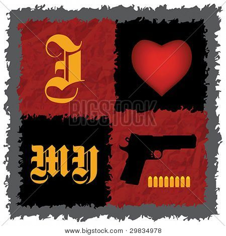 """I Love My Gun"", Handgun with bullets -  concept T-shirt design"