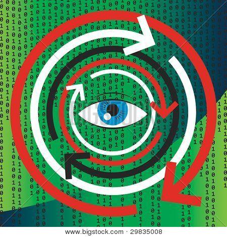 Concept illustration of human vision, psychology and programming