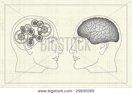 Two opposite profiles with brain and gears inside heads