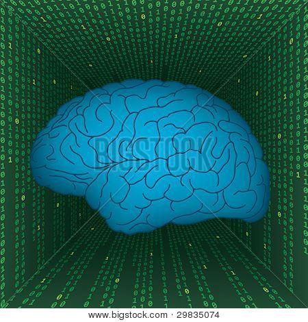 Human brain inside digital matrix