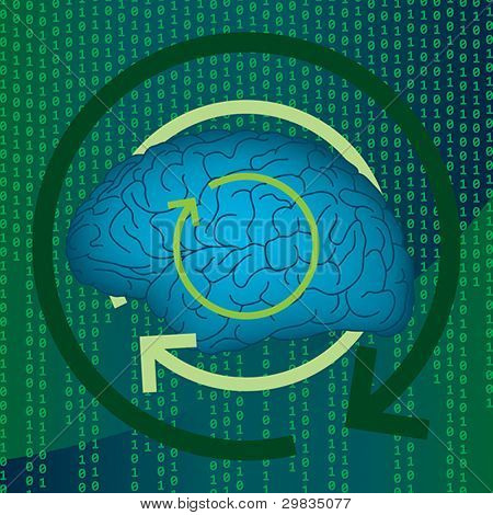 Concept illustration of human mind, psychology and programming