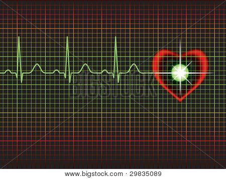 Template with heart symbol and normal electrocardiogram line