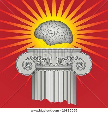 Triumph of Intellect, concept, shining brain on pedestal