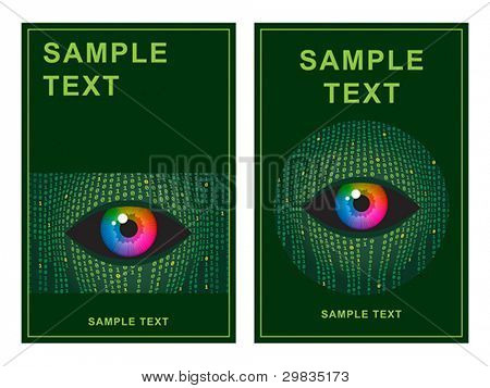 Template with concept illustration of human vision and digital technologies.