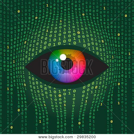 Concept illustration of human vision and digital technologies.