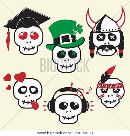 Funny skulls, smiles, various emotions and characters, CMYK, EPS8