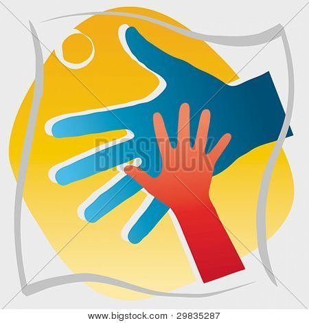 Giving hand to a child, concept illustration, Vector format EPS 8, CMYK.