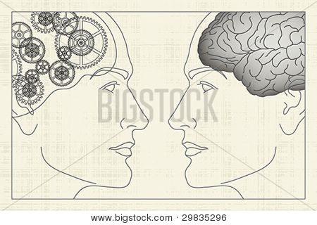 Two opposite profiles with brain and gears inside, EPS 8, CMYK.