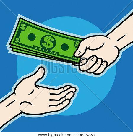Aushaendigen, Geld an andere Hand, die Eps 8, Cmyk.