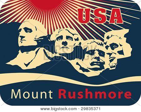 Mount Rushmore National Memorial. USA landmark, Shrine of Democracy. Vector format EPS 8, CMYK.