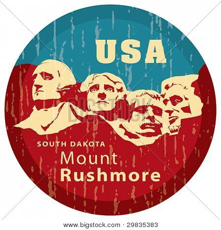 Mount Rushmore National Memorial, EPS 8, CMYK. USA landmark, Shrine of Democracy. South Dakota.
