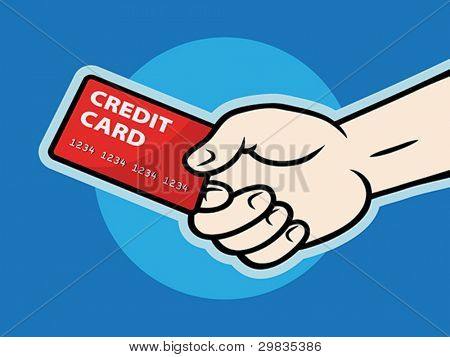 Hand with plastic card, Vector format EPS 8, CMYK.