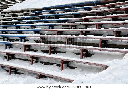 Closeup Bandy Stadium Stands Under Snow