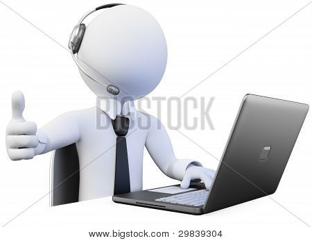 3D Operator Working In A Call Center