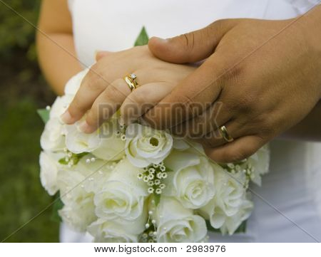 Bride And Groom'S Hands With Rings
