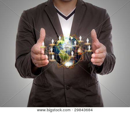 Business man hold earth of social network
