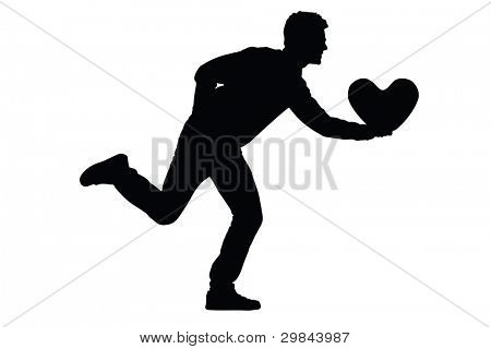 Silhouette of a young man running with a heart shaped pillow in his hand isolated on white background