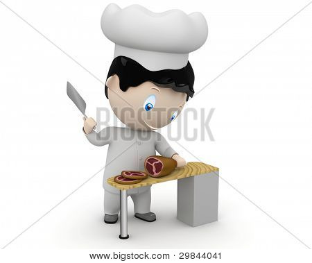 Cook at work! Social 3D characters happy smiling cook in uniform cutting ham. New constantly growing collection of expressive unique multiuse people images. Concept for cooking illustration. Isolated.