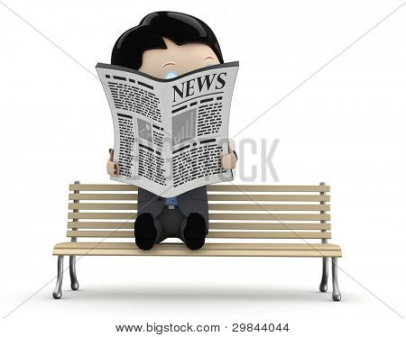 Hot news! Social 3D characters: businessman in suit reading newspaper on a bench. New constantly growing collection of expressive unique multiuse people images. Concept for news illustration.Isolated.